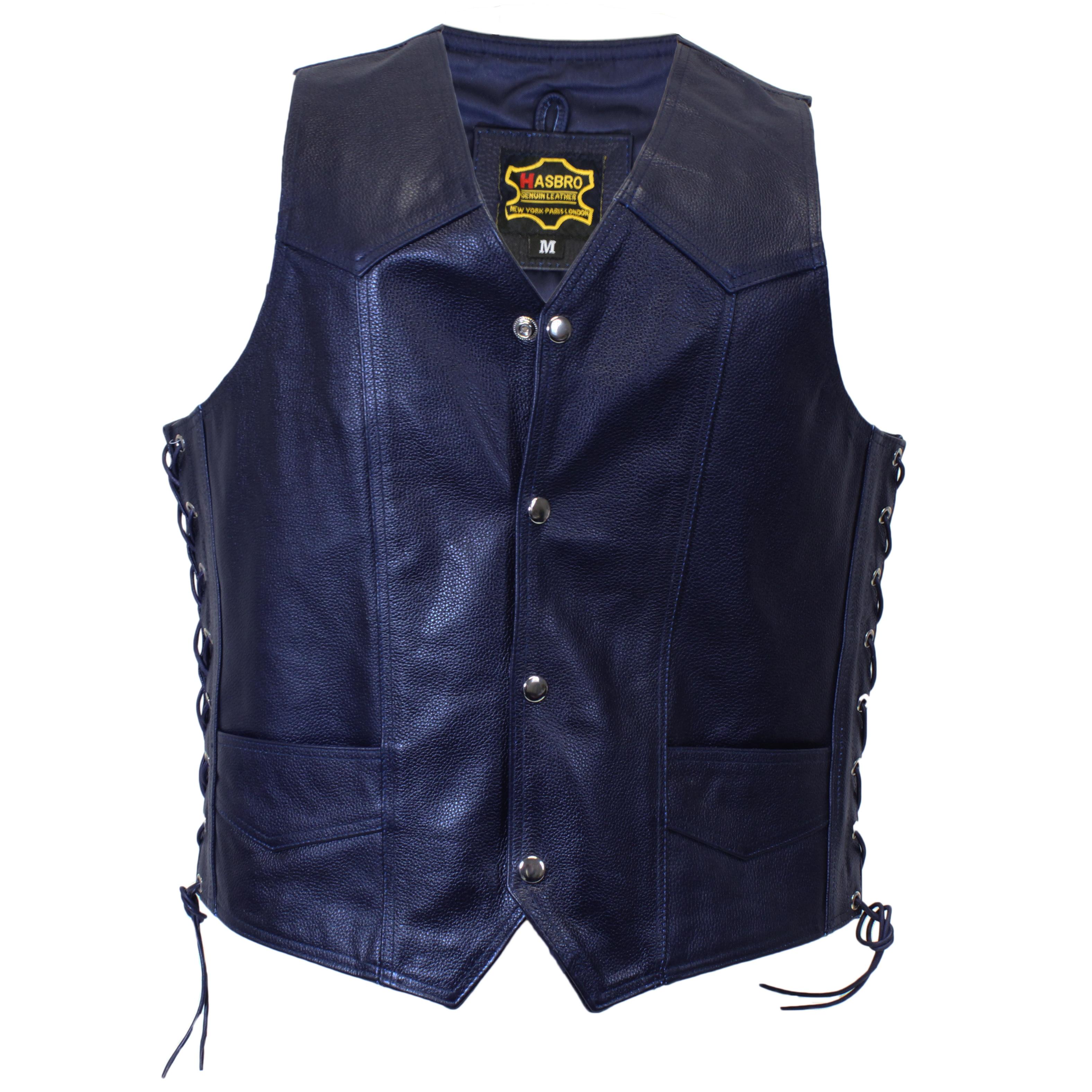 14ee90809 Dark Blue Knight Leather Vest