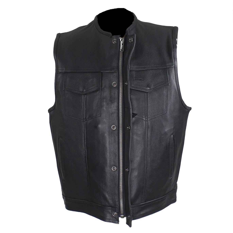 Mens Cut Off Motorcycle Waistcoat Cowhide Leather Black Biker Vest Jacket Men's Clothing Apparel & Merchandise